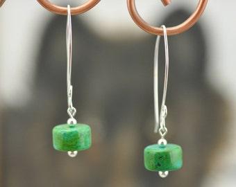 Genuine Green Xinjiang Turquoise .925 silver Earrings