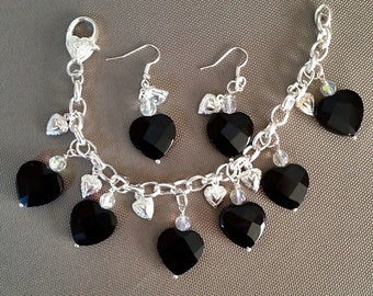 Black Onyx Faceted Hearts w/ Crystal Charm Chain Bracelet Earrings SET