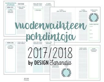 Vuodenvaihteen pohdintoja 2017/2018 (Uusi vuosi 2018) - Tulosta itse  (suomeksi)