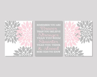 Floral Nursery Art, Pink Gray Nursery Decor, Baby Girl Nursery Decor, Prints Or Canvas Wall Art, Girl Bedroom Pictures, Quote Art, Set of 3