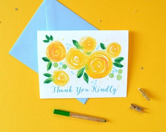 Floral Thank You Cards Set of 8, Flower Thank You Cards, Thank You Card Set, Yellow Blooms Thank You Cards