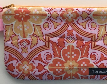 X-Small Orange/Pink Zip Pouch