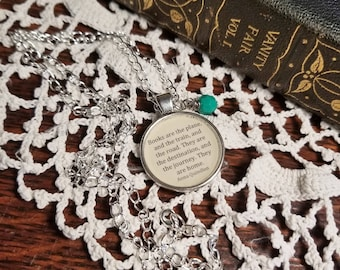 Book Nook, Book Quote Necklace, Quote Necklace, Anna Quindlen Necklace, Quote About Books, Silver, Literature Necklace, MarjorieMae