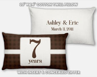 7th Anniversary Gift for Men 7 Year for Women Seven Year Present Idea Him Her Gift for Wife Husband Wedding Anniversary Gift Couple Pillow