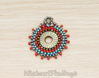 PDT1719-RE // Red Beads Pendant, 1Pc