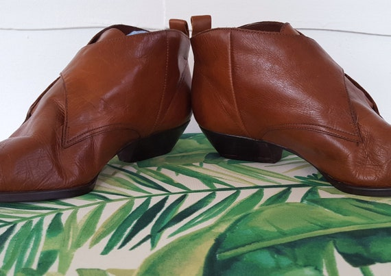 Heel Nine Brown 90s Booties Leather Brazil Boots in Gold Tone 1990s Ankle Toe West Pointed Made Buckle Low xHAXF4A