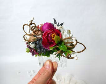 Bridal hair comb boho Wedding headpiece Bridal hairpiece Woodland comb wedding Boho hair flower piece Rustic comb bridal Boho floral hair