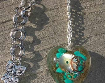 Magnesite Watch Gear and Sand Necklace