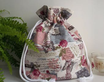 floral drawstring bag,drawstring bags,drawstring pouches,floral drawstring pouch,Debsneedle,drawstring storage bag,lined drawstring bag,uk