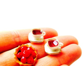 Stud earrings -- The Little Tea, miniature cups and saucers, golden brim, by The Sausage