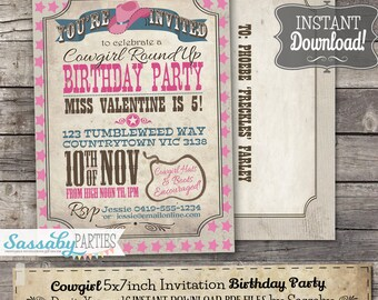 Cowgirl Invitation - INSTANT DOWNLOAD - Partially Editable & Printable Pink Birthday Party Rodeo Roundup Invite by Sassaby Parties