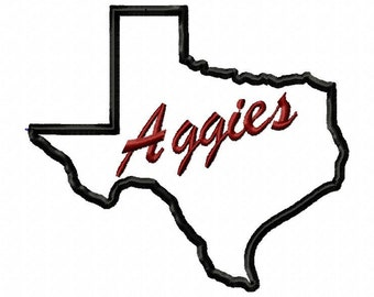 A bundle of Texas A and M Aggies embroidery and applique design download - 2 designs included