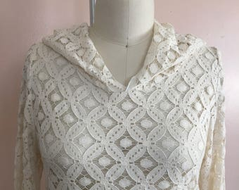 Cotton-blend Lace Hooded Tunic- One of a Kind Handmade