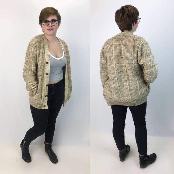80's Pendleton Knit Grandpa Cardigan Large Unisex - Beige Cream Earth Tones Star Textured Button Front Cardi - Virgin Wool Slouchy VTG Cardi
