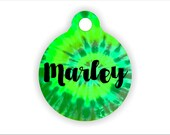 Green Tie Dye Bag Tag, Custom Pet ID Tag, Shade of Green and Lime, Swirl Custom Name, Tie, Unique Name Pet Tag, Customizable Collar Badge