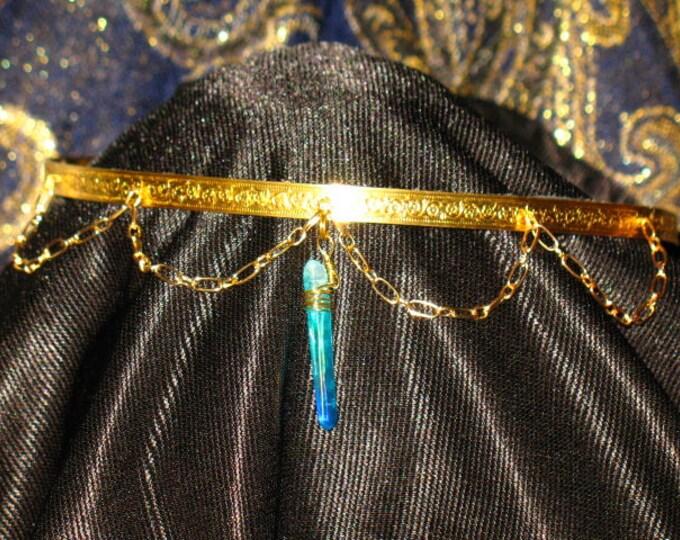 Featured listing image: Aqua Aura and Brass Circlet~Ritual Crown~Renaissance Faire Costume