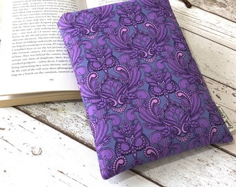Masquerade Owl Book Buddy, Padded Purple Book Sleeve, Book Lover Gift, Choose your Size Book Pouch, Luxury Book Cover, Bookish Accessories