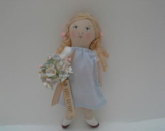 Small OOAK Handmade Little Doll Gift Tag Thank You Gift Happy Birthday Doll Congratulations Love You Mother's Day