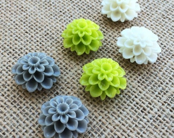 Set of 6 Grey, Lime and White Dalia Flower push pins, thumb tacks