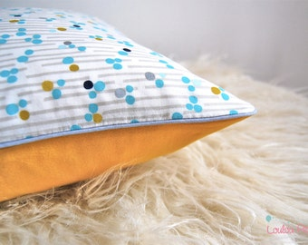 ORGANIC mustard pillow Scandinavian and graphic dots cover