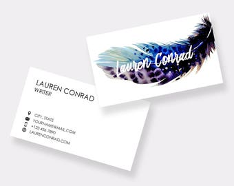 Business Card Template | Printable Business Cards | Customizable Business Card Design |  Easy to edit and print at home or a print shop