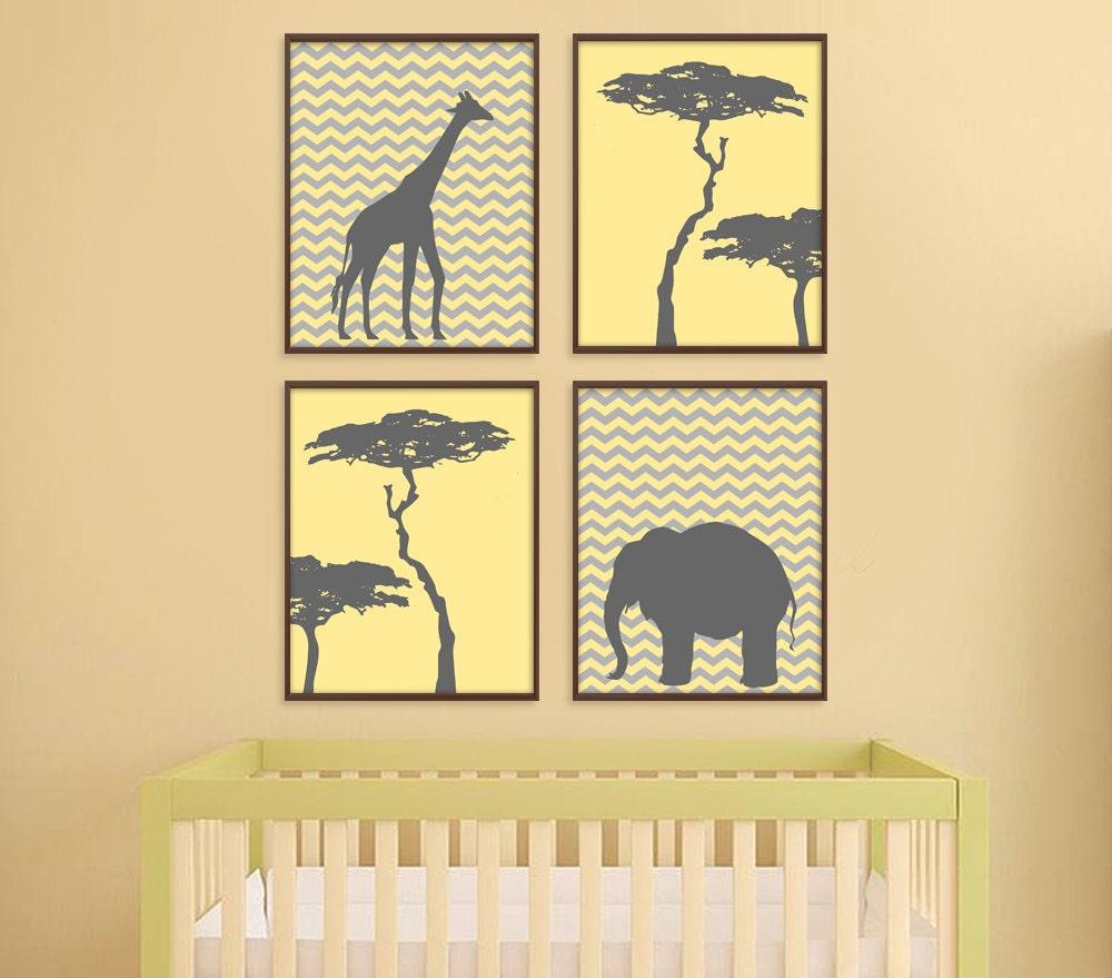 Jungle Nursery Art Safari Nursery Art Giraffe Elephant