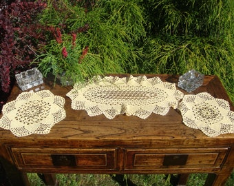 Vintage Set of 3 - Delicate Crochet Summer Yellow- Dressing Table Doilies – Cotton Crochet doilies ,oval and round table decorations