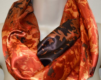Orange with brown accents infinity scarf, women colorful scarf, infinity loop, spring/summer/fall infinity scarf, woman scarf