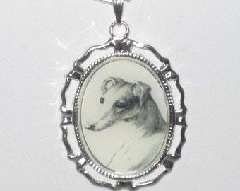 Altered Vintage Art Portrait Greyhound or Whippet Dog Pendant Necklace Silvertone