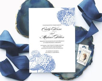 Blue Hydrangea Wedding Invitation Suite - Botanical Floral Wedding Invitations, Garden Wedding, Rustic Wedding Invite