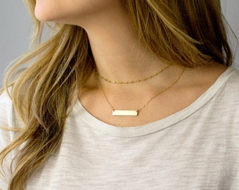 Personalized Bar Necklace/Personalized Gift For Mom/Mother's Day Gift for Mom Custom Gold Bar Necklace/Personalized Gift for Grandma/Nana/V4