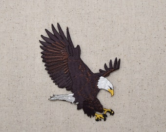 American Bald Eagle - Landing - Iron On Applique - Embroidered Patch - WA50