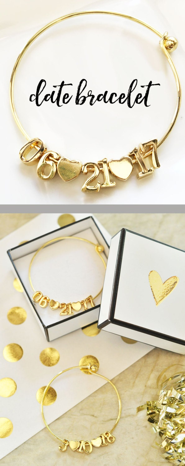 Date Bracelet Wedding Date Jewelry Gift for Bride to Be
