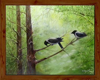 Two crows oil painting