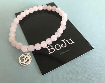 Mala Bracelet - Rose Quartz bracelet - OM bracelet - Yoga bracelet - Om jewellery - OM jewelry - gemstone bracelet - sterling silver