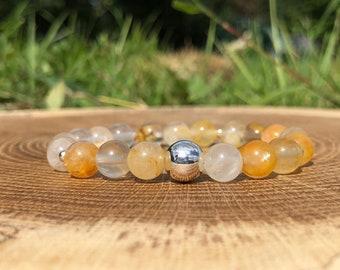 Yellow Rutilated Quartz Bracelet, Statement Jewelry, Bracelets For Women, Celestial Jewelry, Stackable Bracelets, Healing Gift, Yoga Mala