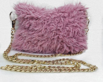 Pink Faux Llama Fur Crossbody handbag with gold chain strap