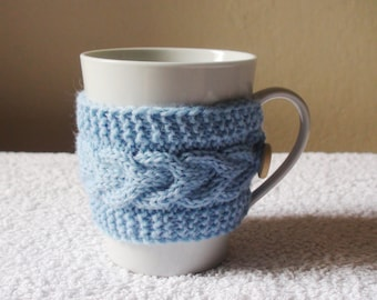 Light blue mug cozy valentines day gift for him knit coffee cozy cup warmer blue cup sleeve tea cup cozy cable mug cozy Mug Hug
