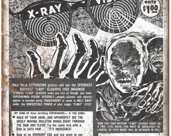 "X Ray Vision Glasses Horror Fans Comic Ad 10"" X 7"" Reproduction Metal Sign J120"