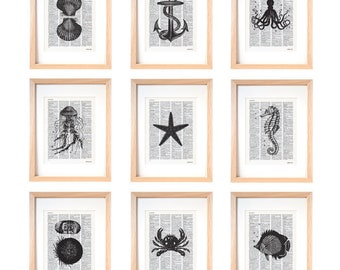 Sea life set of 9 prints-coastal wall art-beach decor-sea life dictionary print-home decor-gift idea-ocean wall art-marine print-DP313