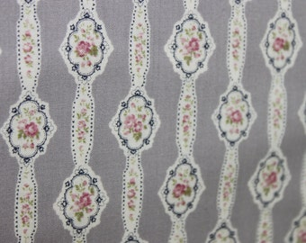 Yuwa Small Cameo on Gray  819878D Cotton Fabric
