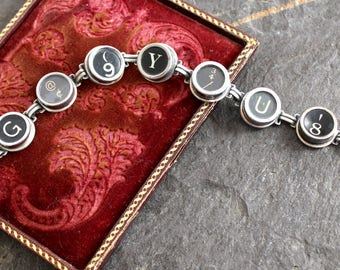 Typewriter Key Bracelet, jewelry vintage up cycled repurposed antique retro recycled teacher editor secretary writer gift