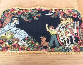 Antique Doily Painted on Felt-Mother/Children/Horse/Dog Picnic