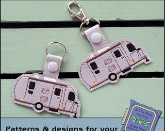 ITH Sleek and Silver Key Fob - Camper Bag Tag - Vinyl Key Fob with Snap Tab - Machine Embroidery Design