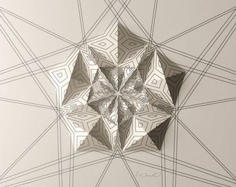 Geometric Wall Decoration - Art Relief - Folded Paper Crystal Mosaic - Modern Geometric Abstract Sculpture - By Kubo Novak -Draw 5EC5