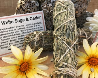 WHITE SAGE & CEDAR Smudge Stick | Sage Bundle for Ceremony, Meditation, Altar, Home Cleansing, Positive Energy, Cleanse, Wicca Smudge Kit