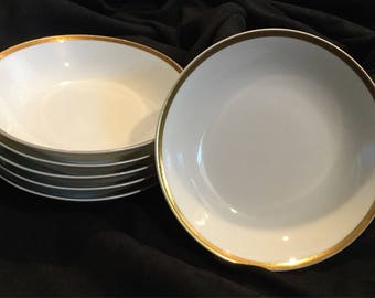 Vintage Haviland Limoges China| Berry Bowls|Dessert Bowls|Vegetable Bowls|  (set of 6) white with wide gold band