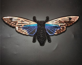 Large Butterfly Sequin Patch / Bee Beaded Embroidery Applique