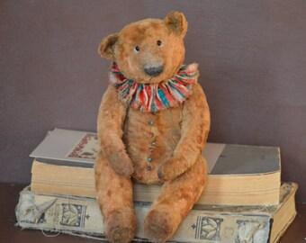Artist Teddy Bear OOAK antique teddy bear vintage toy Plush Sawdust Soft sculpture Teddy Bear to order Сlassic teddy bear Old circus.