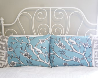 Queen Pillow Shams, 20x30, grey and blue aviary